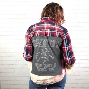 Led Zeppelin Dip-Dye Bleach Flannel Graphic Shirt
